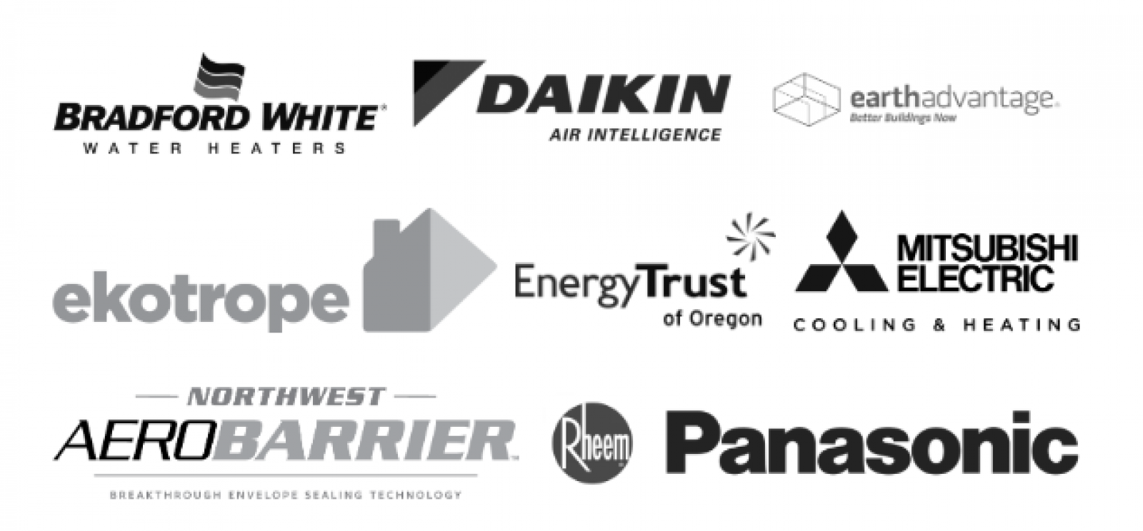 List of sponsor logos including: Bradford White Water Heaters, Daikin Air Intellegence, Earth Advantage, Ekotrope, Energy Trust of Oregon, Mitsubishi Electric, Aero Barrier, Rheem, and Panasonic.